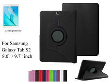 """Screen Protector/360°Rotate PU Leather Case for Samsung Galaxy Tab S2 9.7"""" 8.0"""""""
