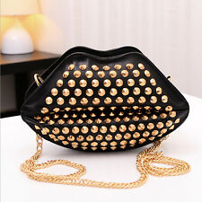 Fashion Womens Rivet Studded Lip Shape Shoulder Chain Bag Satchel Handbag Purse