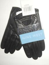 Nine West Genuine Leather Driving Gloves,Black