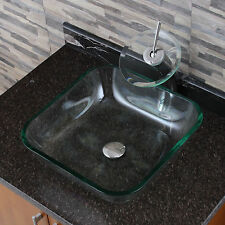 Transparent Square Tempered Glass Bathroom Vessel Sink withWaterfall Faucet Comb