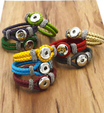 DIY 1Pcs Handmade Leather Bracelets Drill Fit For Noosa Snaps Chunk Charm Button