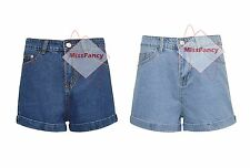 Womens Blue Fold Up Denim Shorts High Waisted Shorts Hotpants Hot Pants