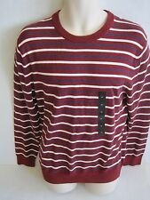 BANANA REPUBLIC Mens Burgundy Striped Crew Neck Sweater Size S-XXL NWT