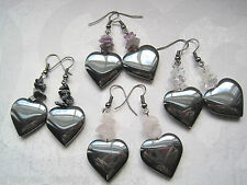 LARGE HEMATITE HEART Gemstone Bead Drop Earrings Rose Quartz Amethyst Cluster
