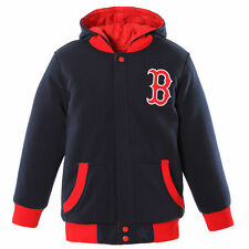 Boston Red Sox JH Design Youth Fleece Hooded Reversible Jacket - Navy/Red - MLB