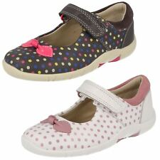 Clarks 'Binnie Dots' Girls White Spotted Leather Casual Shoes F Fit
