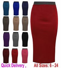 LADIES PLAIN OFFICE WOMENS STRETCH BODYCON MIDI PENCIL SKIRT PLUS SIZE 6-22 LgMd
