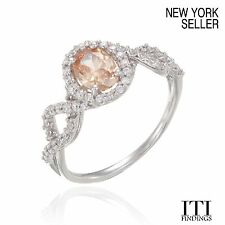 Sterling Silver Ring with Champagne AAA CZ R-SC229CH