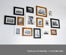 Wood Photo Picture Frame Wall Collage Set of 15 Vintage