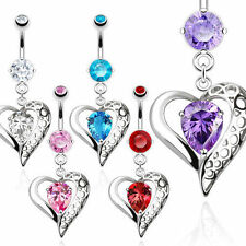 Vintage Heart with Teardrop CZ Dangle Navel Ring 316L Surgical Steel