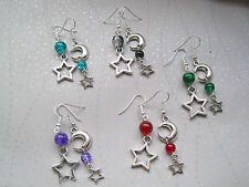 CHUNKY CRESCENT MOON STAR MISMATCH Drop Earrings Crackle Bead Red Green Black