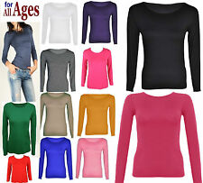 Womens PLUS SIZE Long Sleeve Strech Casual Plain Round Scoop Neck T Shirt Top RN