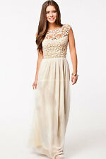 Women's Sleeveless Floral Lace Maxi Dress Floor Length Long Dress