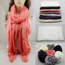 Fashion Women's Lace Ruffle Trim Net Cotton Stitching Long Warm Wrap Scarf Shawl