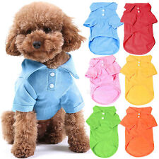 Cute Pet Dog Collar Puppy Polo T-Shirt Clothes Outfit Apparel Coat Cotton XS-L