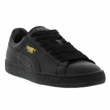 Puma Basket Leather Mens Black Lace Up Trainers Shoes