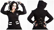 *  POIZEN INDUSTRIES BBK FEVER HOODIE BLACK & WHITE GOTHIC CAT EAR GOTH LOLITA *