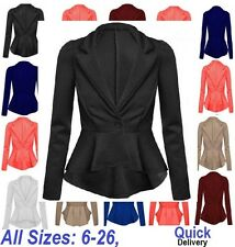 Womens Ladies Crop Frill Shift Slim Fit Fitted Peplum Blazer Jacket Coat UK 6-26