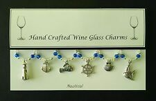 Nautical Themed Set of Wine Glass Charms Birthday Present Hen Party Wedding