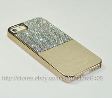 Bling Bling Half Leather Austria Crystal Cell Phone Cover Case For iPhone 5S/SE