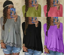 Fashion Womens Long Sleeve Crewneck Tops Casual Lace Blouse Loose Cotton T Shirt