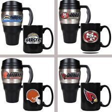 Choose Your NFL Team 20oz Plastic Stainless Steel Travel & 15oz Ceramic Mug Set