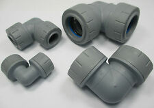 POLYPLUMB  90º ELBOW  PUSH FIT SIZES: 10 15 22 28 mm GREY FITTINGS