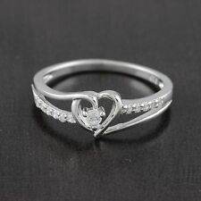 Womens 925 Sterling Silver CZ Micro Pave  Heart Promise Ring