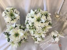 Wedding Flowers, Tiger Lily, Ivory Rose, Brooch, Bride, Bridesmaid Bouquets