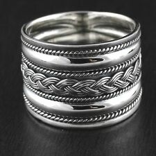 Womens Solid 925 Sterling Silver Bali Design Band Vintage Style Ring 15mm Wide