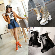 Size4-11 Stylish Womens Block Chunky Heel Lace Up Platform Ladies Mid Calf Boots