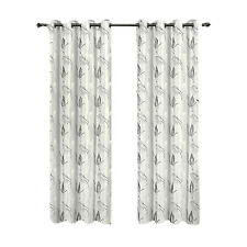 White Embroidered Lined Grommet Window Curtain Panels Olivia Pair