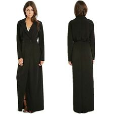 Chic Notched Lapel Double Breasted Slim Maxi Long Suit Jacket Blazer Trench Coat
