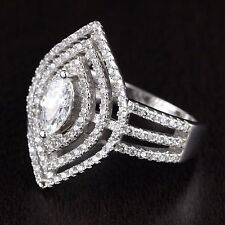 Womens Solid 925 Sterling Silver CZ Marquise Solitaire Micro Pave Ring 22mm Wide