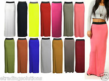New Ladies Womens Gypsy Long Jersey Maxi Dress Skirt Ladies Skirt Size 8-14 jrs