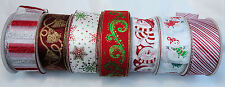 CHRISTMAS RED  WIRED WIRE EDGE  RIBBON 63MM WIDE 5M 10M