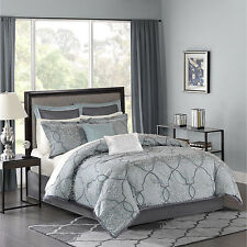 Blue Gray 12 Piece Luxury Jacquard Bedding Bed Comforter Set Queen King C-King