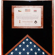Flag Display Case With Certificate Holder Hand Made By Veterans