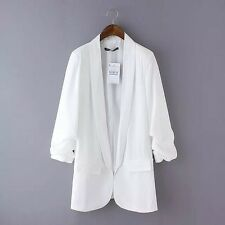 Women's Mid Long Blazers Jackets None Button Plicated 3/4 Sleeve Business Suits