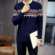 Men's Long Sweater Sleeve Round Neck Pullover Knitwear Slim Fit Casual Sweaters