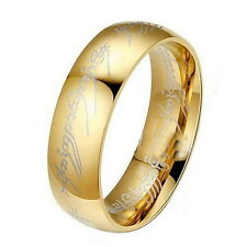 Mens Womens Lord of the Rings The One Ring Lotr Titanium Steel Ring Size 6-12
