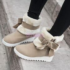 Womens Fur Lined Girls ANkle calf WInter Snow Boots Faux Suede Bowknot Plus Size