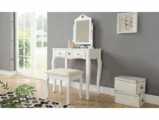 Shabby Chic Dressing Table Set with Stool & Mirror - Heart Design with 2 Drawers