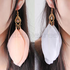 2 Pairs Women Jewelry Gift Goose Feather Alloy Dangle Hook Eardrop Earrings
