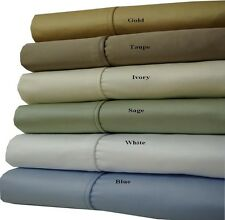 (Olympic-Queen) 100% Cotton Thick & Heavy 1000 Thread Count 4PC Solid Sheet Sets
