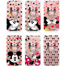 Cute Mickey & Minnie Cartoon Soft Clear TPU Ring KickStand Case Cover For Phones