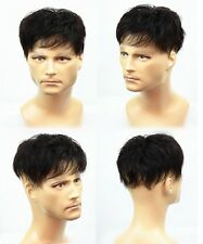 100% human hair mens black mono toupee hair replacement system top piece for men