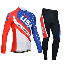 New Men Outdoor Sports Bike Cycling Bicycle Long Sleeve Jersey Padded Pants Set