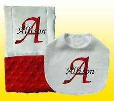 New Embroidered Handmade  Personalized Girl Baby Red Bib, Burp Cloths Sets