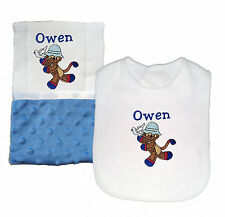 New Handmade Personalized Baby Boy Blue Monkey Theme Bib and Burp Cloth Set